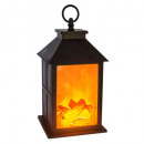 wood fire lantern h26.5, black