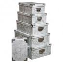 Caja esquinas metálicas x6 mármol gr, gris