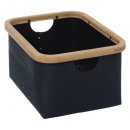 bamboo basket black, black