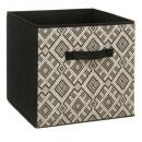 boite rangement 31x31 ethnique, noir & blanc