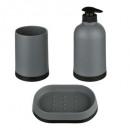 Accesorio de baño sucio x3 polipropileno gris, gri
