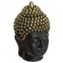 zwarte boeddha hoofd h27 magnesie, zwart