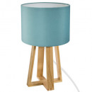 blue h35 wood blue foot lamp, blue