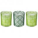 bougie parfumées verre feuille x 3 135g, vert