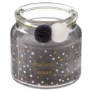 candle scented glass pompom 80g, 3- times assorted