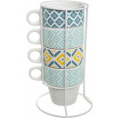 mug on rack x4 tikal, multicolored