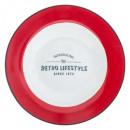 assiette plate retro rouge 27cm, rouge