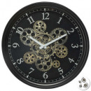 meca luxe d37 metalen klok, zwart