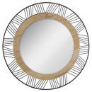 miroir ronde metal / bois joe d45, noir