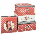 wholesale Small Furniture: square boxes x4 printed american
