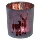 candle holder glass cylinder 2 printed d7cm, red