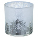 wholesale Wind Lights & Lanterns: photophore glass cylinder 2 printed d20cm, silver