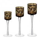Großhandel Haushalt & Küche: Teelichtglas mit Fußfolie x3 30cm