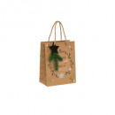 nagyker Ajándék csomagolás: ajándék táska kraft vödör + fa pm