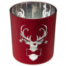 wholesale Drinking Glasses: candle holder glass deco red + gold 8,8x10cm, 2-fo