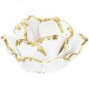 candle holder ceram flower line gold d8cm
