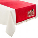 wholesale Table Linen: chdt red / gr + frang / timbr 40x150, 2-time ass
