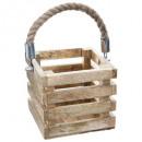 tealight lantern wood square + rope