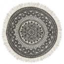 tapis ronde mandala delhi d90, noir & blanc