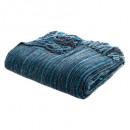 blauwe chenille plaid 130x180, blauw