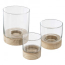 set x3 tealight glass + wood summer maxh22, transp