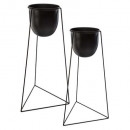 metal living support pots x2, black