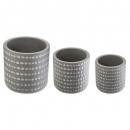gray 3d x3 pots set, light gray