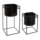 metal pot with support x2, black