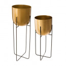 round pot metal gilded support x2, gold