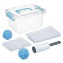 kit linge + boite, bleu