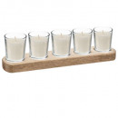 scented glass candle x 5 + tray 45g, 2-fold a
