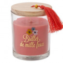 scented glass candle + cozy tassel 280g, 3-fold