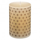 printed rustic candle 7.5x10 325g, ivory