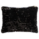 Großhandel Mappen & Ordner: schwarzer Paillettenbeutel 28cm
