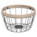 metal basket + wood 24cm cook, black