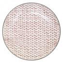 plato plano shibori rojo 27cm, rojo