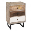 bedside 3 drawers white koval, multicolored