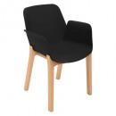 sillón de polipropileno negro alby wood, negro