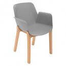 silla de polipropileno para madera gris alby, gris