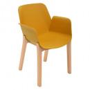 sillón de polipropileno, madera de ald, mostaza