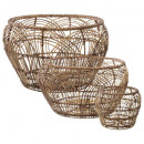 round rattan basket pattern x3, beige