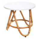 white rattan table, white