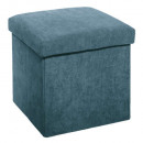 foldable pouf in velvet blue, blue rib