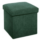 foldable pouf in velvet green, green rib