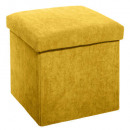 foldable pouf in velvet ocher ribbon, ocher