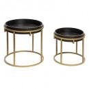 ronde salontafel p goud x2, zwart