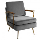 fauteuil en velours gris daya, gris