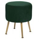 stool in velvet foldable solaro green, green