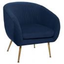 fauteuil en velours pliable bleu solaro, bleu