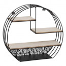 Wall shelf b / metal round black, black